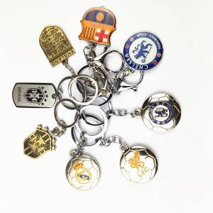 Direct Manufacturer Custom Soccer Football Club Logo Key chain KeyRing