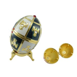 OEM Egg-Shaped şîn nerm color ronê jewelry box metal bi krîstal