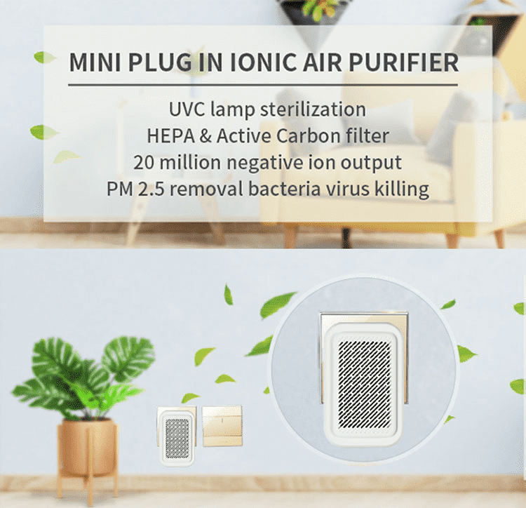 Guanglei 2021 New Design Mini Plug-in HEPA UV Ionic Air Purifier.