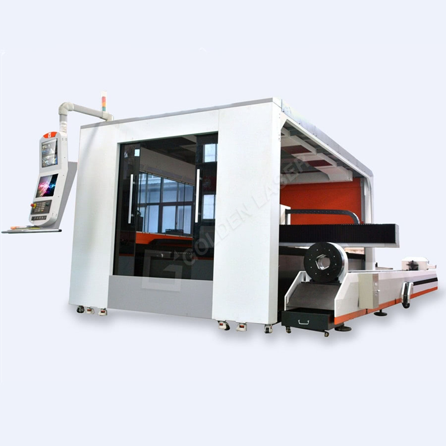 Full Enclosure Shuttle Table Fiber Laser Sheet and Tube Cutting Machine GF-1530JH