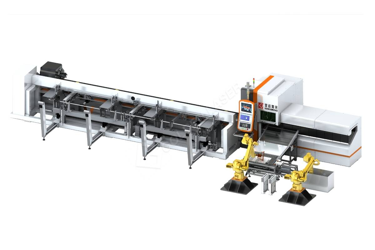 Laser tube cutting automatic flexible production line and feeding system
