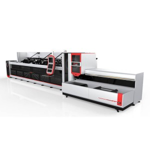 1500W 2500w Plene Aŭtomata Bundle Loader Fibro Laser Tube Cutting Machine