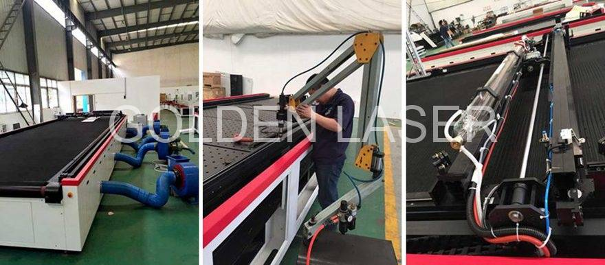 aircraft carpet laser cutting machine in production
