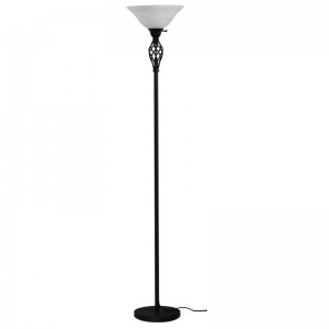 Goodly Classic Black 71 Inch Torchiere Floor Lamp with Milky Glass Shade for Living Room Corner Bedroom Office GL-FLM050
