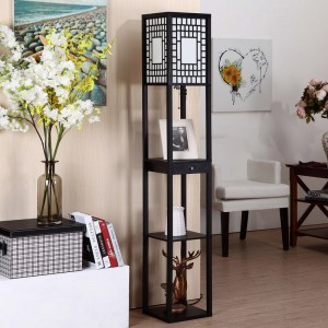 Floor Lamp with Shelves, with 3 Wood Storage Display Shelves and One Drawer | Goodly Light-GL-FLWS011