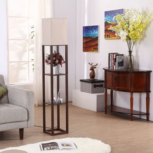 Shelf Floor Lamp,Elegant Wooden  Floor Lamp With 3 Storage Shelves | Goodly Light-GL-FLWS003