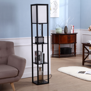 Black Shelf Floor Lamp,Wooden Floor Lamp with Shelf | Goodly Light-GL-FLWS001