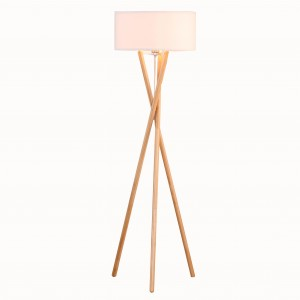Wooden Tripod Floor Lamp,Floor Standing Tripod Lamp, Modern Elegant Indoor Standing Light | Goodly Light-GL-FLW015