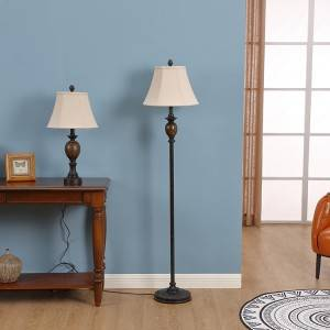 Rustic Floor Lamp,Traditional Bell Lampshade |  Goodly Light-GL-FLP001