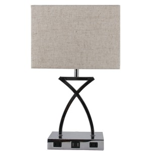 Silver Nightstand Lamps,Modern Design Table Lamp,with USB Charging ports | Goodly Light-TLM037