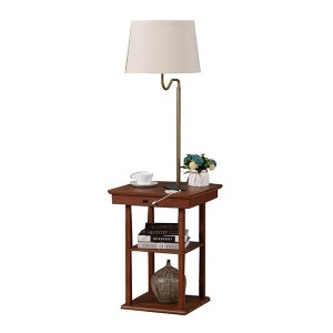 Table Lamp with Outlet and USB,Wood Table Lamp Base | Goodly Light-GL-FLWS1001