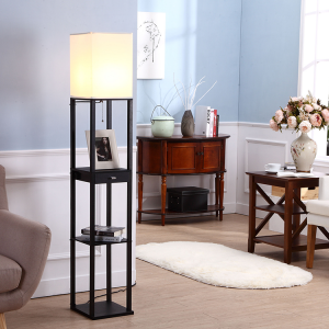 Black Floor Lamp,Floor Lamp with Asian Display Shelves and One Drawer | Goodly Light-GL-FLWS004