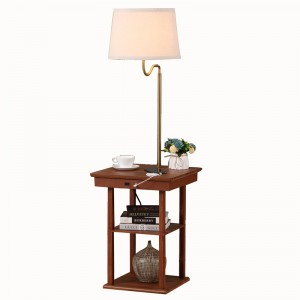 USB End Table Lamp, Modern Desk Lamp with Shelf,Lamp with USB Charger | Goodly Light-GL-FLWS001