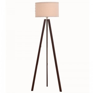 Personlized Products Industrial Vintage Lamp Natural Wooden Colour Adjusted Height E27 Tripod Floor Lamp