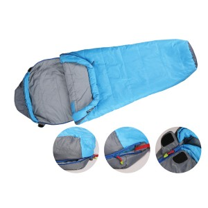 2 layer light blue mummy sleeping bag