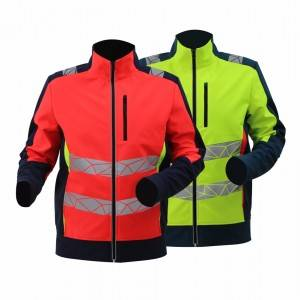 GL8640B Modern Comfortable Fluorescent Hi-Vis Color Softshell Jacket for Men with Stretchy Fabric