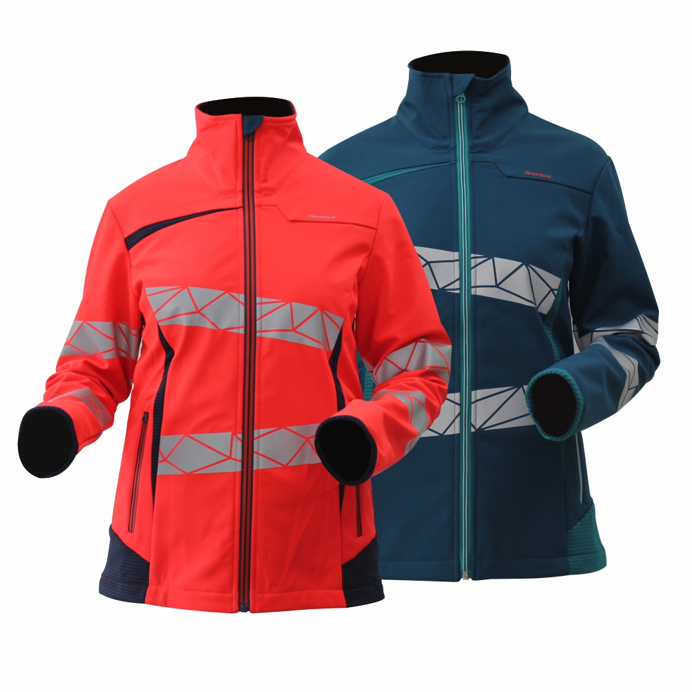 GL8671 Modern Comfortable Fluorescent Hi-Vis Color Softshell Jacket for Lady with Stretchy Fabric