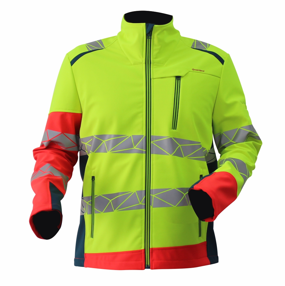 GL8673 Modern Comfortable Fluorescent Hi-Vis Color Softshell Jacket for Men with Stretchy Fabric