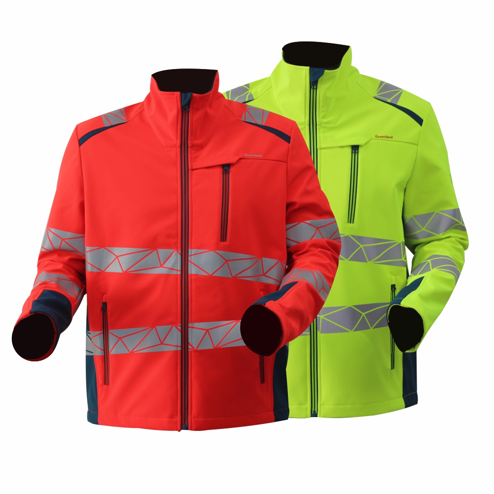 [Copy] GL8672 Modern Comfortable Fluorescent Hi-Vis Color Softshell Jacket for Men with Stretchy Fabric