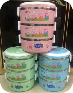3 Tiers Round Cartoon Lunch Box,Peppa Pig Spill-proof Bento Box,High Quality Children Food Carrier