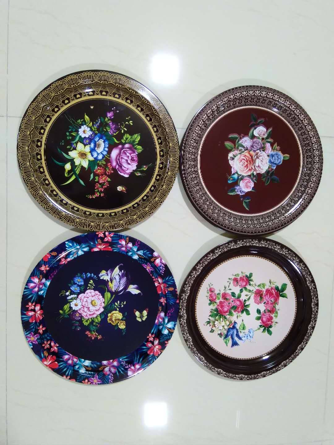 36CM Tinplate Round Tray With Flower Painting Featured Image