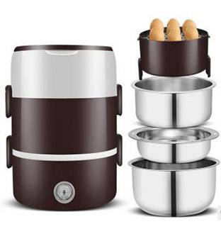 2 / 3 Layers Portable Office Electric Lunch Box Mini Rice Cooker Plug-in Heating Keep Warm Lunch Box Featured Image