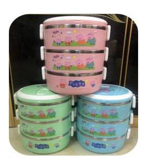3 Tiers Round Cartoon Lunch Box,Peppa Pig Spill-proof Bento Box,High Quality Children Food Carrier Featured Image