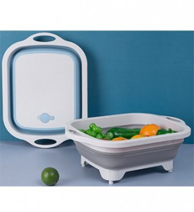 New Arrival 2 in 1 Foldable Vegetable Drainer Basket Chopping Board