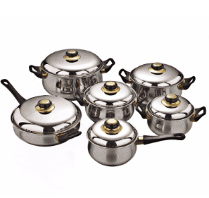 12PCS Stainless Steel Cooking Pot and Frying Pan PP004