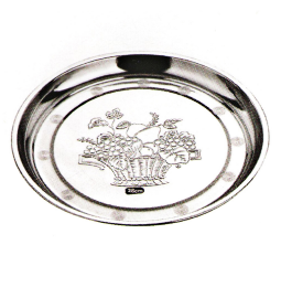 Stainless Steel Kitchenware Decorative Pattern Round Tray Sp024
