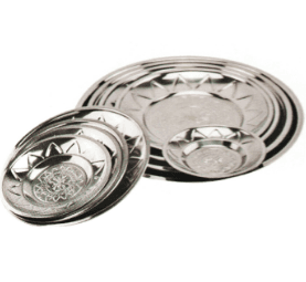 Home Application Stainless Steel Kitchenware Oval Tray in Round Design Dinner Plate Sp034
