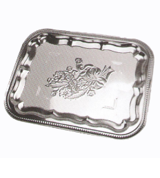 Stainless Steel Kitchenware Square Tray with Decorative Pattern Sp040