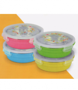 Round Shape Stainless Steel Lunch Box With Painting