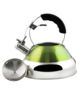 China Factory Stainless Steel 201 Green Whistling Kettle Skw009
