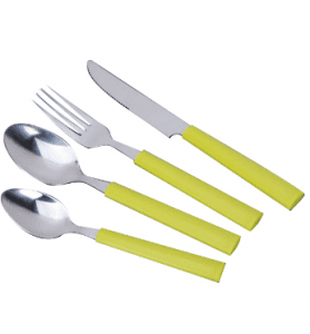 Stainless Steel Dinner Cutlery Set with Colorful Plastic Handle No. P03