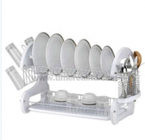 Metal Wire Kitchen Dish Rack Plastic Board No. Dr16-Bp04