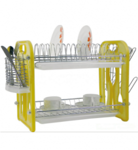 2 Layers Metal Wire Kitchen Dish Rack Plastic Board No. Dr16-Bp02