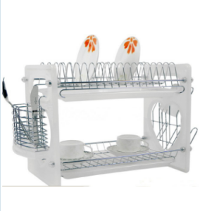 2 Layers Metal Wire Kitchen Dish Rack with Plastic Board No. Dr16-Bp01