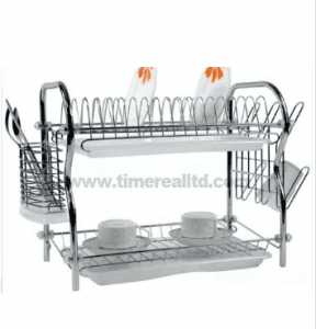 2 Layers Metal Wire Kitchen Dish Rack No. Dr16-Rb
