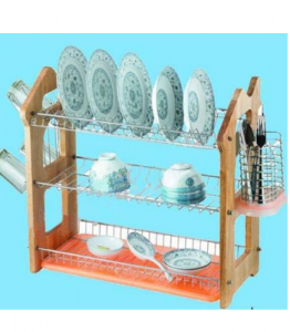 3 Layers Kitchen Metal Wire Dish Drainer Rack Wooden Board