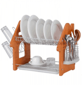 Metal Wire Kitchen Dish Rack with Wooden Board H Shape