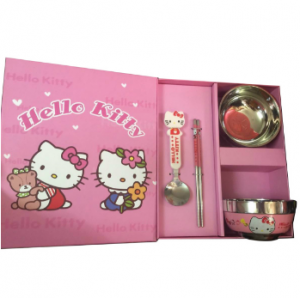 Gift Hello Kitty Stainless Steel Children Dinnerware Set Bowl