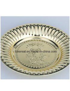 Golden Color Stainless Steel Soup Plate Round Tray With Flowers