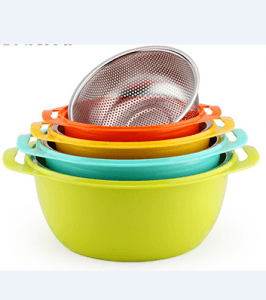 2PCS Vegetable Stainless Steel Drain Basket And Plastic Basin