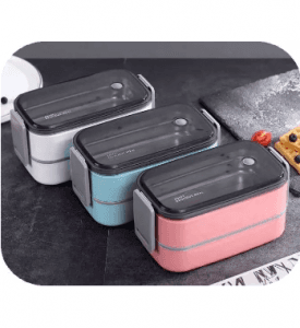 Korean Style Plastic And Stainless Steel Lunch Box Lb-035
