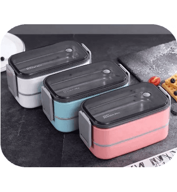 Discount Price Korean Style Lunch Box,Two Tiers Transparent Bento Box Featured Image
