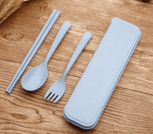 Nature Wheat Straw Travel Portable Cutlery Set,Environmentally Friendly Husk Fibre Spoon Fork Chopsticks