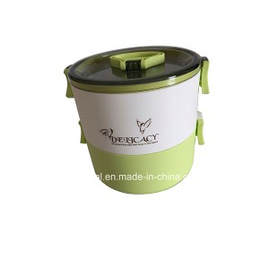 Green Stainless Steel Gift Two Layers Lunch Box with Handle Xg-011