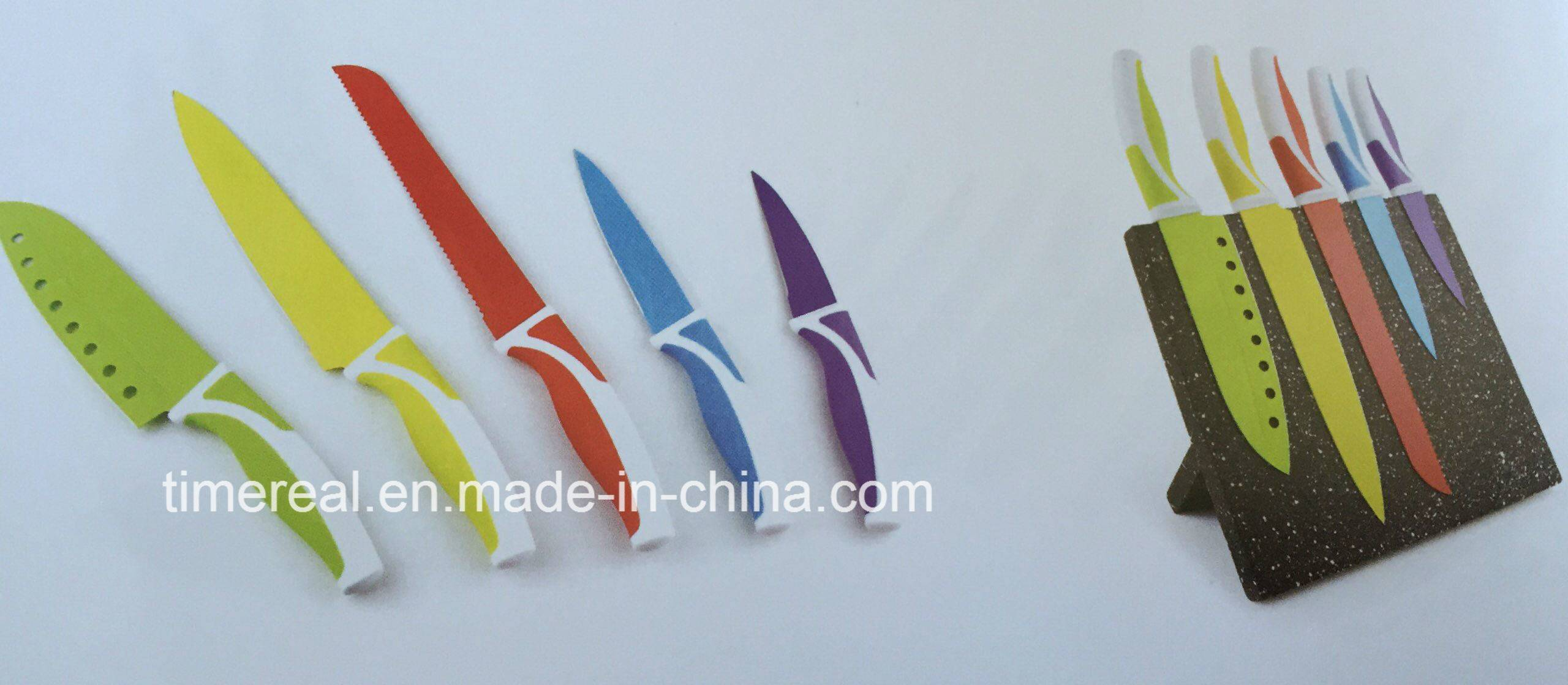 Stainless Steel Kitchen Knives Set with Painting No. Fj-0038