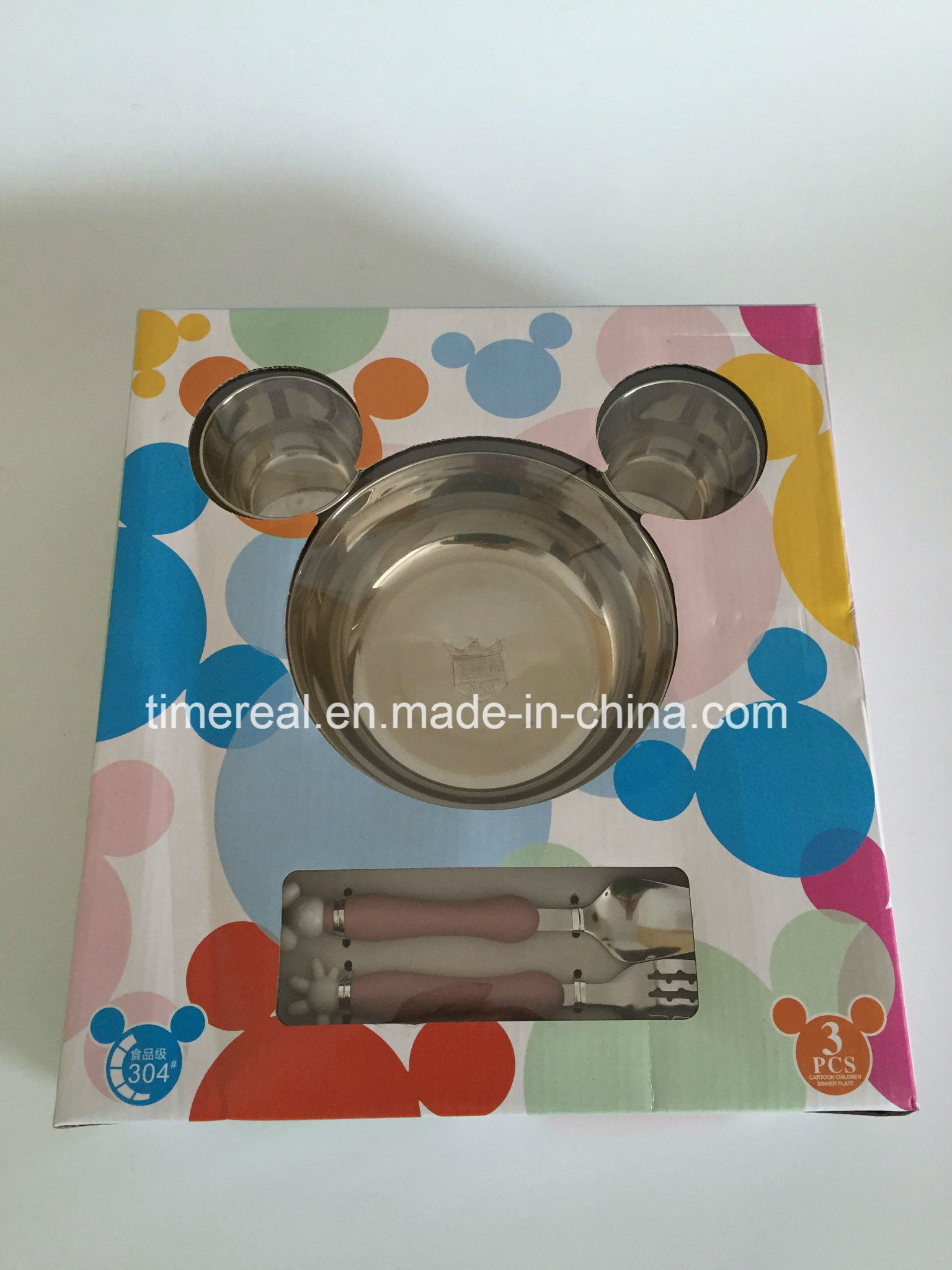 Stainless Steel Gift Fast Food Plate Micky Dinnerware Set Xg-006